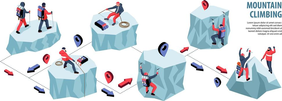 Mountain Climbing Isometric Infographics