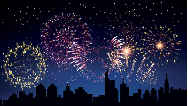 Pyrotechnics And Fireworks In City Background