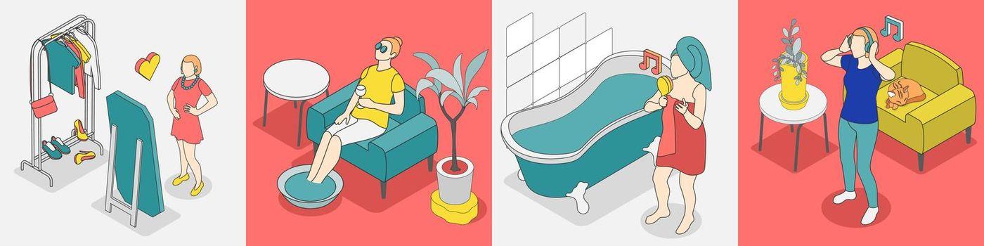 Self Care Concept Isometric Icon Set