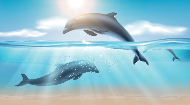 Jumping Dolphin Realistic Background