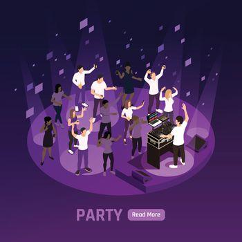 DJ Party Isometric Background