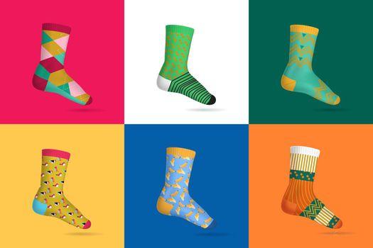 Socks Realistic Multicolored Design Concept