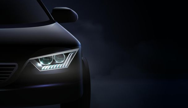 Realistic Car Headlights Ad Composition