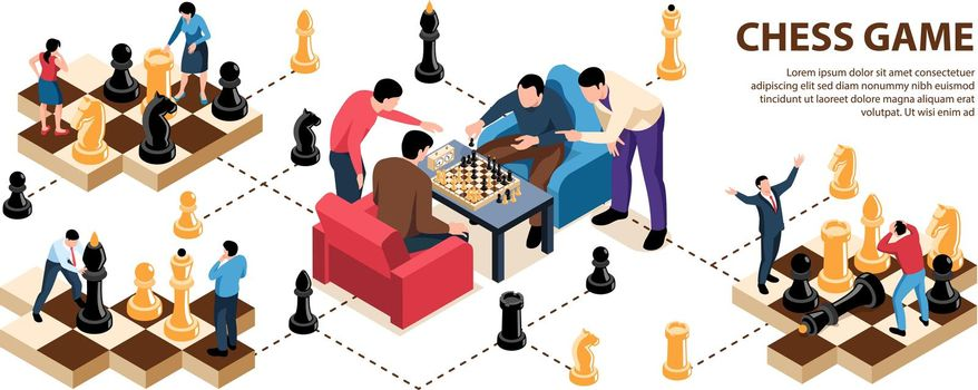 Chess Game Isometric Infographics