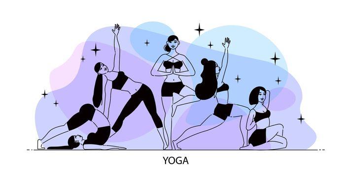 Line Art Yoga Composition