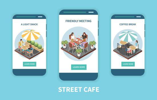 Street Cafe Terrace Isometric Banner Set