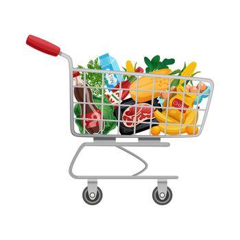 Supermarket Trolley Cart Composition