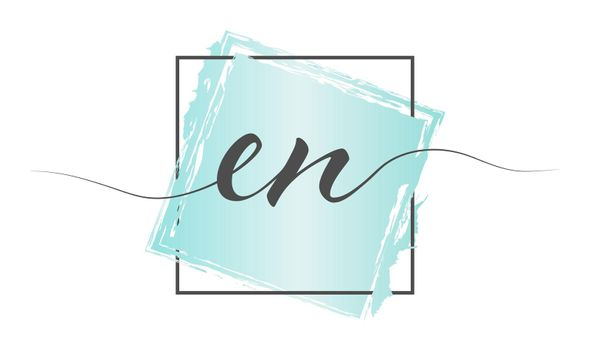 Calligraphic lowercase letters EN in a single line on a colored background in a frame. Vector illustration. Simple Style