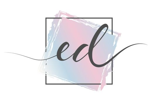 Calligraphic lowercase letters ED in a single line on a colored background in a frame. Vector illustration. Simple Style