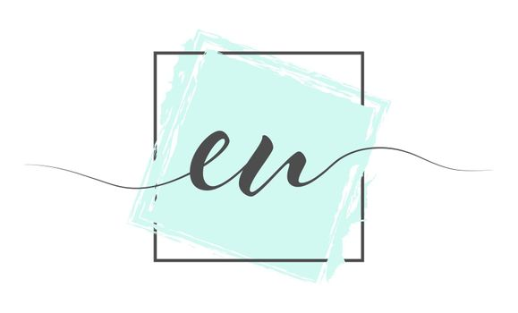 Calligraphic lowercase letters EU in a single line on a colored background in a frame. Vector illustration. Simple Style