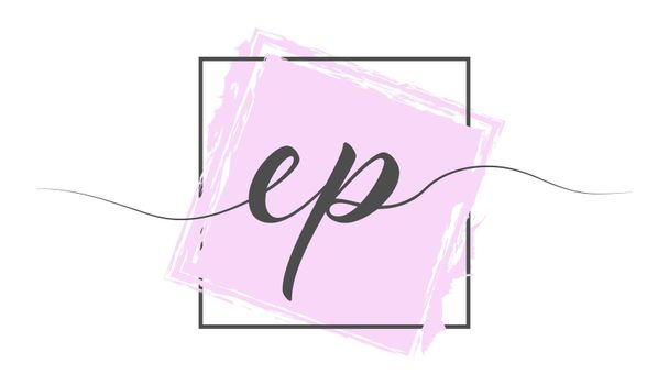 Calligraphic lowercase letters EP in a single line on a colored background in a frame. Vector illustration. Simple Style