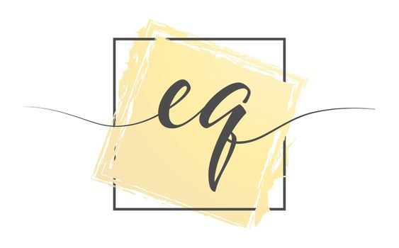 Calligraphic lowercase letters EQ in a single line on a colored background in a frame. Vector illustration. Simple Style