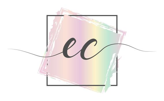 Calligraphic lowercase letters EC in a single line on a colored background in a frame. Vector illustration. Simple Style
