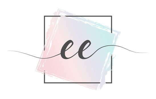 Calligraphic lowercase letters EE in a single line on a colored background in a frame. Vector illustration. Simple Style
