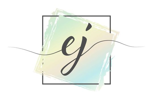 Calligraphic lowercase letters EJ in a single line on a colored background in a frame. Vector illustration. Simple Style