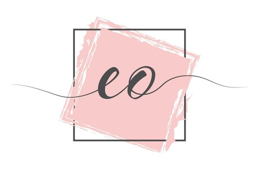 Calligraphic lowercase letters EO in a single line on a colored background in a frame. Vector illustration. Simple Style