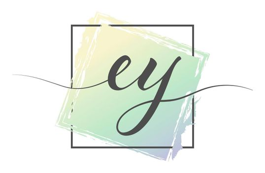 Calligraphic lowercase letters EY in a single line on a colored background in a frame. Vector illustration. Simple Style