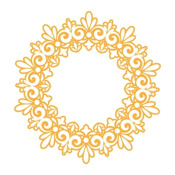 template for a decorative frame with a place for text. Golden round openwork ornament for invitations, postcards and creative design. Flat style