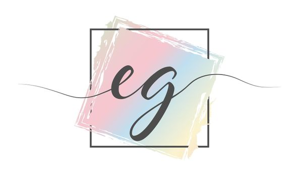 Calligraphic lowercase letters EG in a single line on a colored background in a frame. Vector illustration. Simple Style