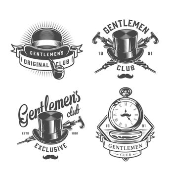 Vintage monochrome gentleman emblems set