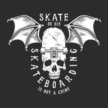 Vintage white skateboarding logo