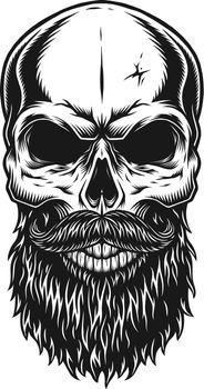 Vintage trendy bald hipster skull template