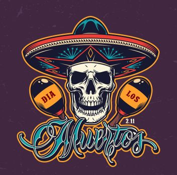 Mexican Day of Dead colorful logotype