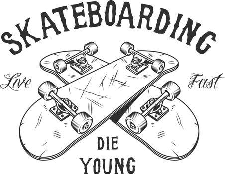 Vintage monochrome skateboarding activity logotype