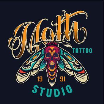 Vintage tattoo studio colorful logotype