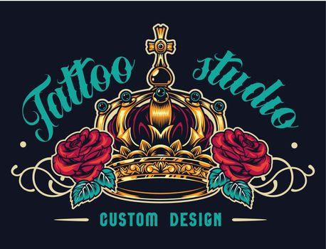 Colorful tattoo salon logotype