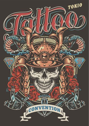 Colorful tattoo festival advertising poster