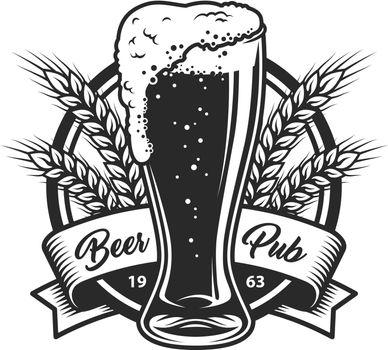 Vintage monochrome beer pub logo