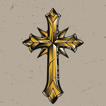 Vintage gold elegant religious cross template