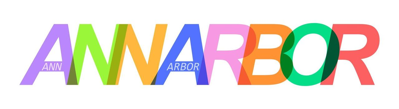 ANN ARBOR. The name of the city on a white background. Vector design template for poster, postcard, banner. Vector illustration.