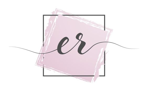 Calligraphic lowercase letters ER in a single line on a colored background in a frame. Vector illustration. Simple Style