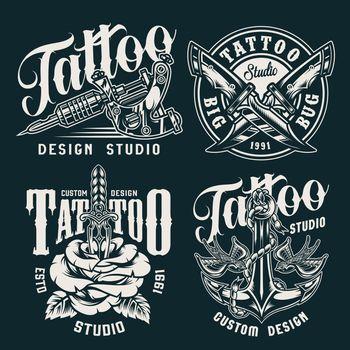 Vintage tattoo studio badges