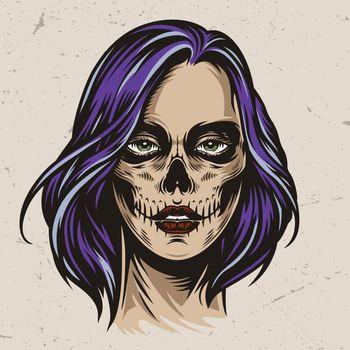 Vintage spooky woman head