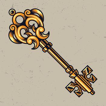 Golden antique elegant key