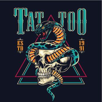 Colorful tattoo salon emblem