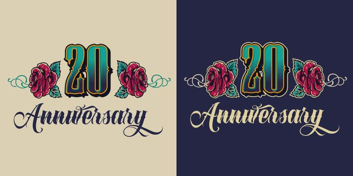 Vintage twentieth anniversary festive emblem