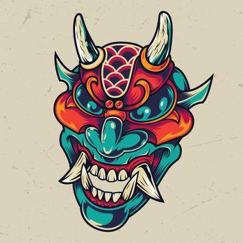 Vintage colorful devil head
