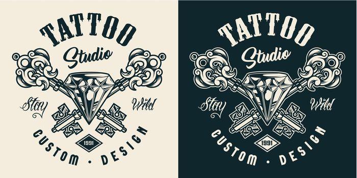 Tattoo salon monochrome label