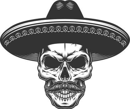 Skull in the mexican sombrero