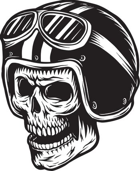 Vintage monochrome skull rider concept