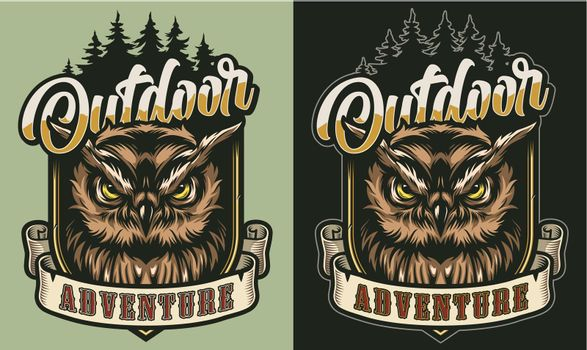 Colorful outdoor adventure vintage label