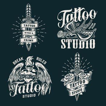 Monochrome tattoo salon prints