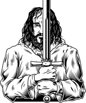 Fantasy warrior with sword