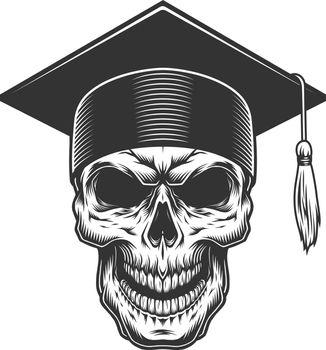 Skull in the graduate hat