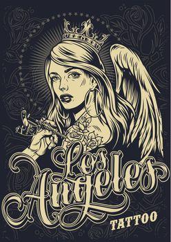 Vintage monochrome tattoo festival poster