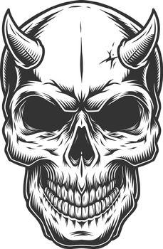 Skull in vintage stule